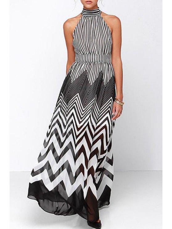 fashion Jewel Neck Zig Zag Chiffon Maxi Dress - WHITE AND BLACK S