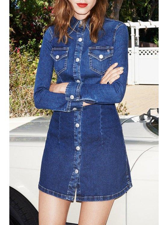 womens Denim Bleach Wash Long Sleeve Dress - BLUE S