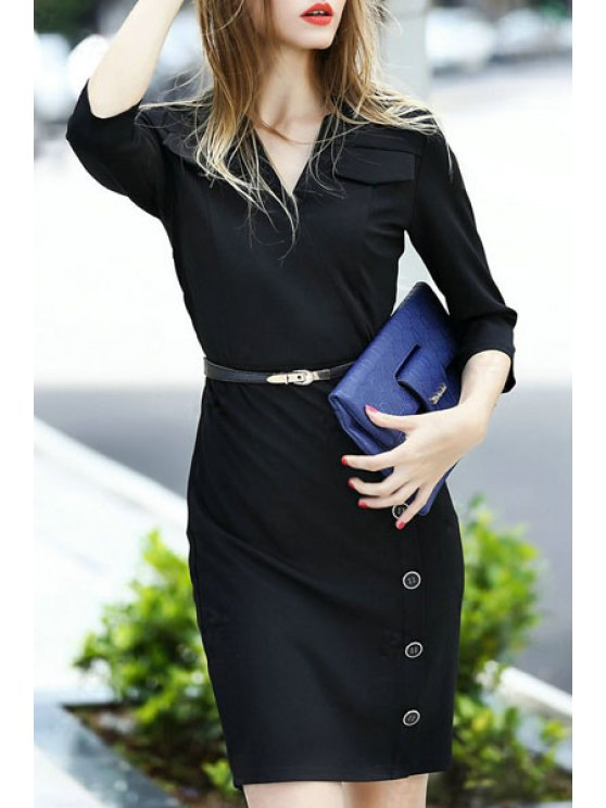 outfit Solid Color V Neck 3/4 Sleeve Bodycon Dress - BLACK S
