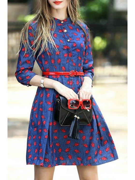 ladies Elephant Print 3/4 Sleeve Stand Neck Dress - AS THE PICTURE S
