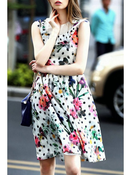 fancy Polka Dot Print Sleeveless Midi Dress - AS THE PICTURE S