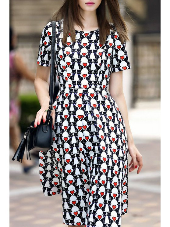 women's Heart Print Short Sleeve Midi Dress - AS THE PICTURE S