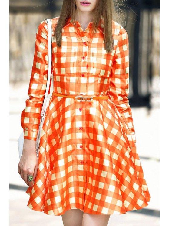 new Checked Turn Down Collar Long Sleeve Dress - ORANGE S