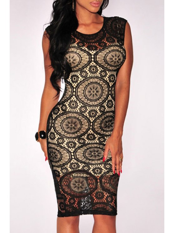 ladies Openwork Lace Hook Bodycon Midi Dress - BLACK ONE SIZE(FIT SIZE XS TO M)