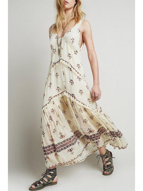 shop V Neck Floral Pattern Sleeveless Maxi Dress - OFF-WHITE S