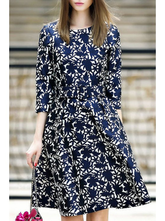 fashion Flower Pattern 3/4 Sleeve Flare Dress - PURPLISH BLUE S