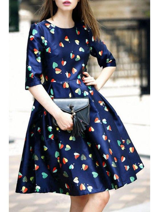 buy Heart Print Jewel Neck Half Sleeve Dress - PURPLISH BLUE S
