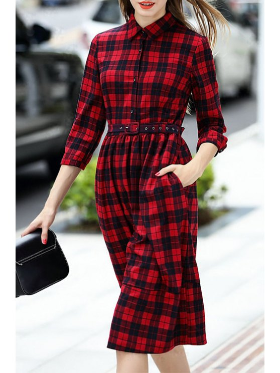 affordable Plaid Print Shirt Neck 3/4 Sleeve Dress - WINE RED S
