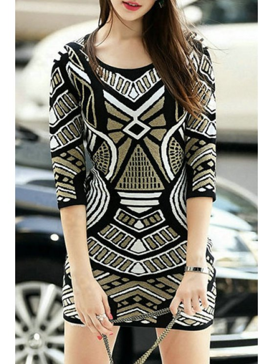 outfits Geometric Pattern 3/4 Sleeve Sweater Dress - BLACK S