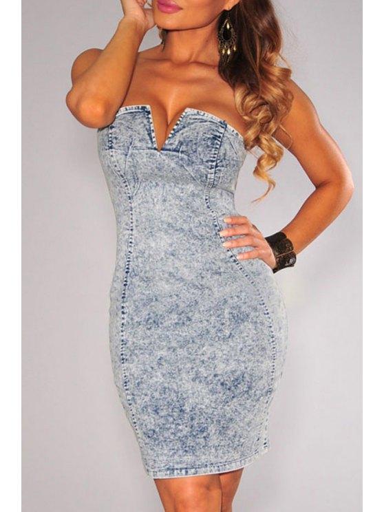 best Strapless Denim Bodycon Dress - BLUE M
