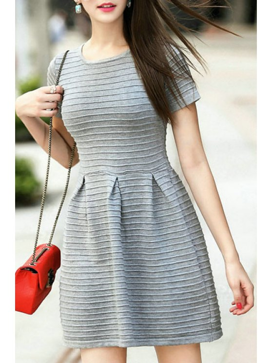 latest Gray Jewel Neck Short Sleeve Sweater Dress - GRAY ONE SIZE(FIT SIZE XS TO M)