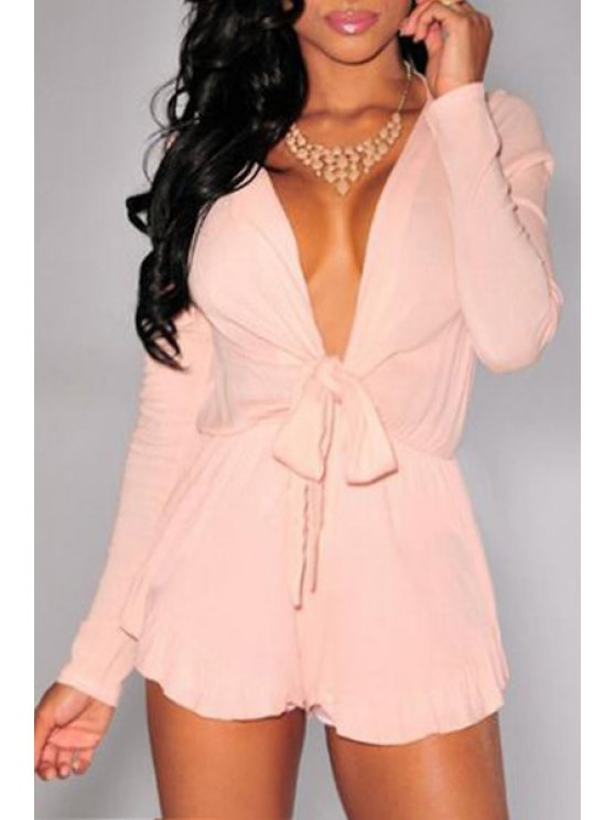 chic Pink Plunging Neck Long Sleeve Playsuit - PINK S