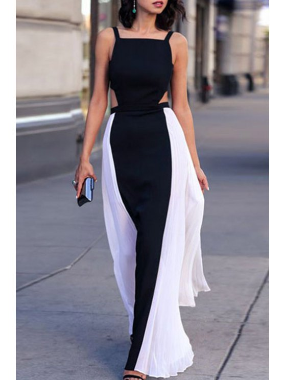 online Hollow Back Color Block Maxi Dress - BLACK ONE SIZE(FIT SIZE XS TO M)