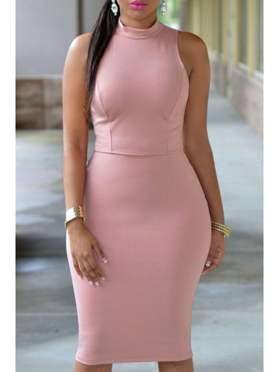 outfit Stand Neck Cut Out Bodycon Dress - PINK ONE SIZE(FIT SIZE XS TO M)