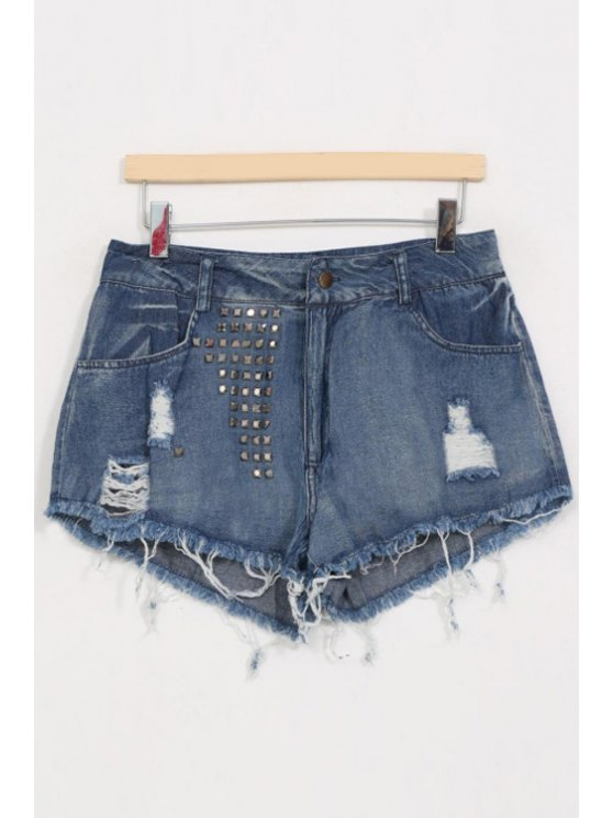 women's Rivet Embellished Ripped Shorts - BLUE S