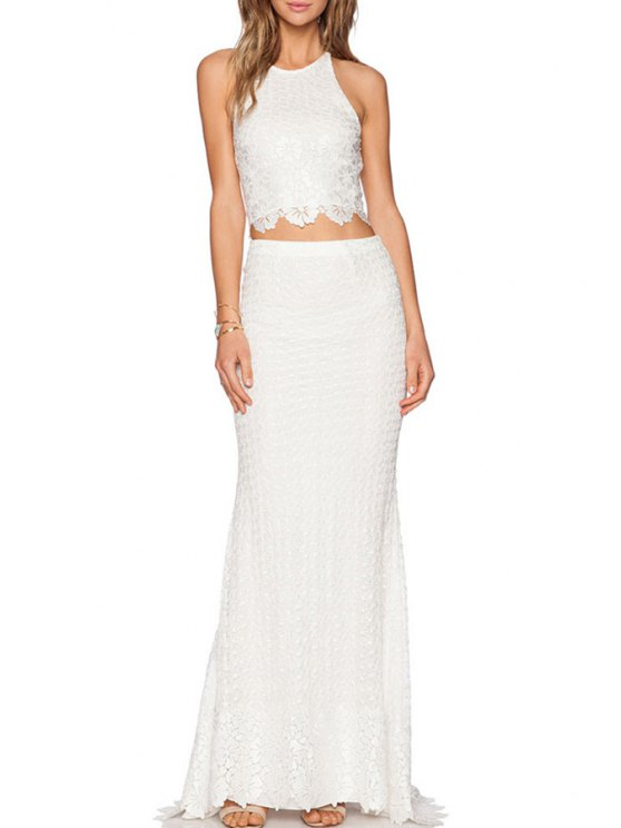 chic Lace Crop Top + High-Waisted Long Skirt Twinset - WHITE M