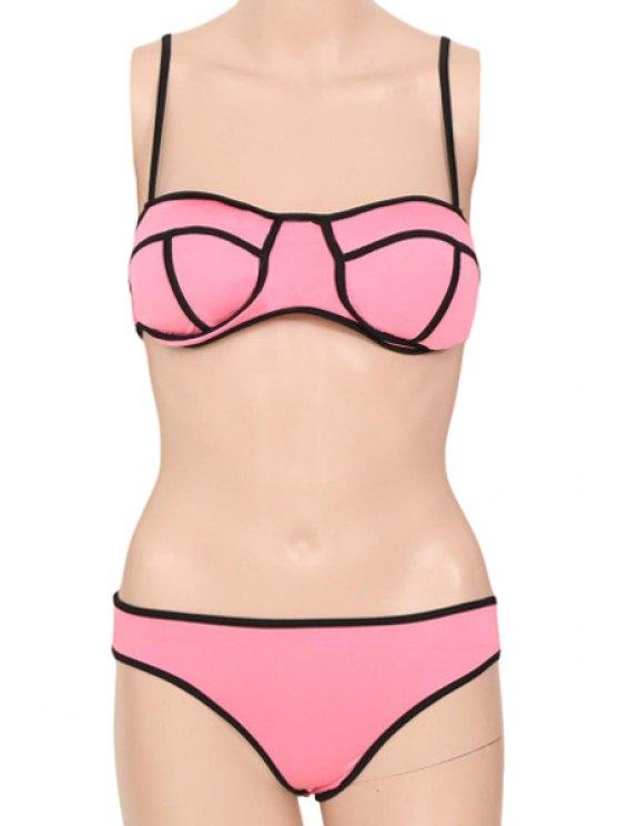 fashion Spaghetti Strap Black Stripe Bikini Set - PINK S