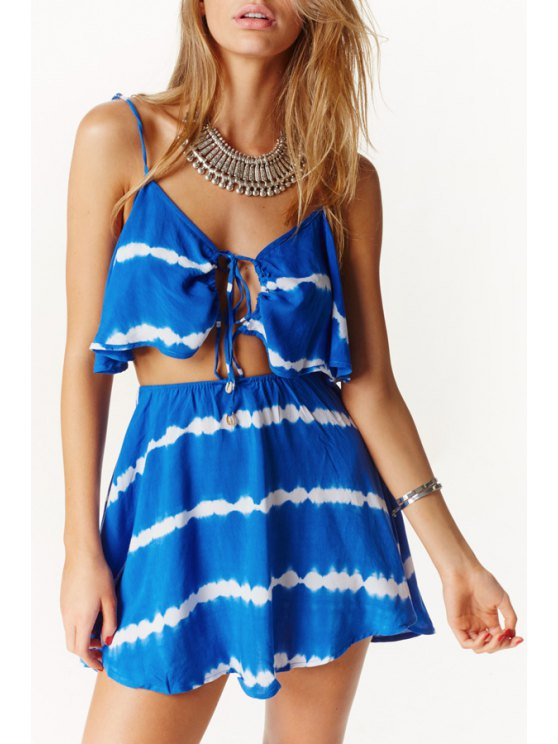 women's Spaghetti Strap Flouncing Backless Stripe Dress - BLUE S