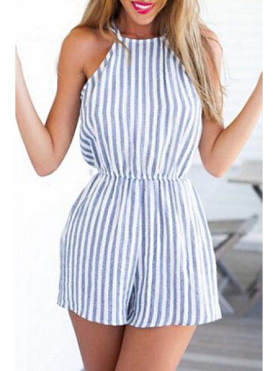 buy Stripes Cami Open Back Playsuit - BLUE AND WHITE S