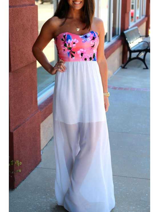 chic Strapless Floral Print Spliced Maxi Dress - WHITE S