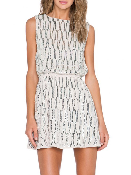 sale Sequins Stripe Sleeveless Dress - WHITE ONE SIZE(FIT SIZE XS TO M)