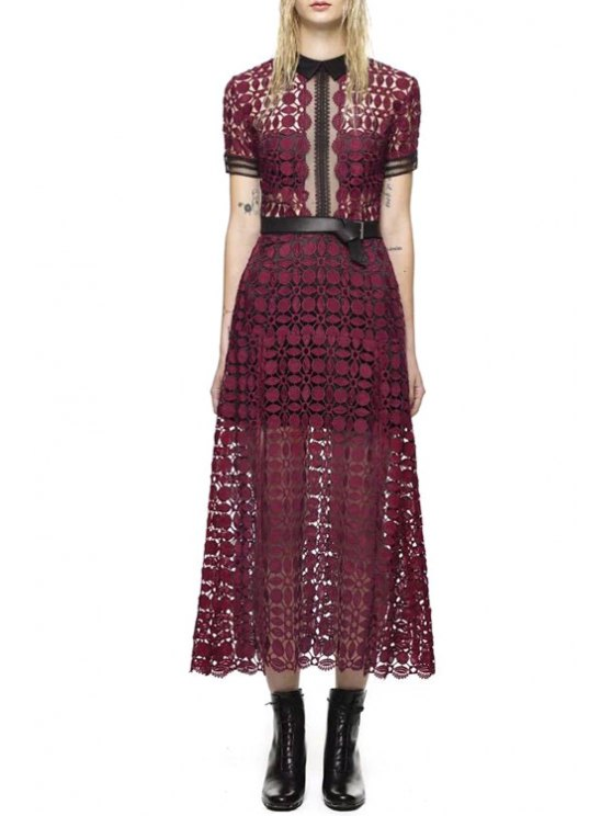 online Turn-Down Collar See-Through Polka Dot Dress - RED S