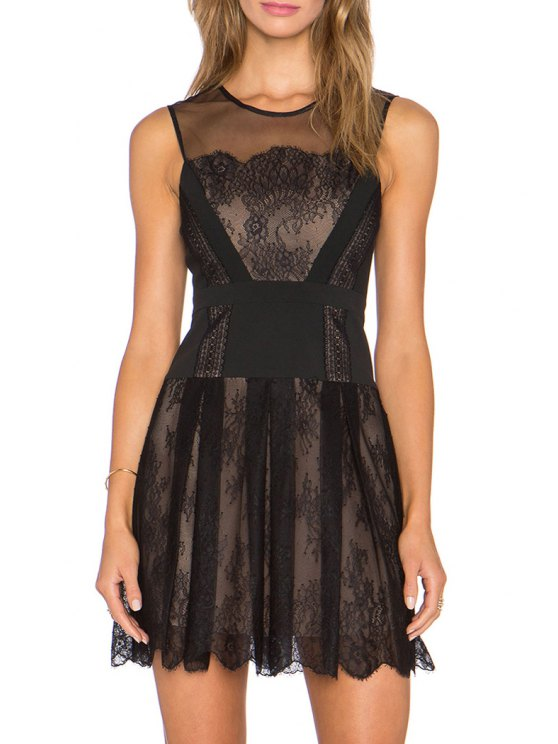 hot Black Lace See-Through Sleeveless Dress - BLACK S
