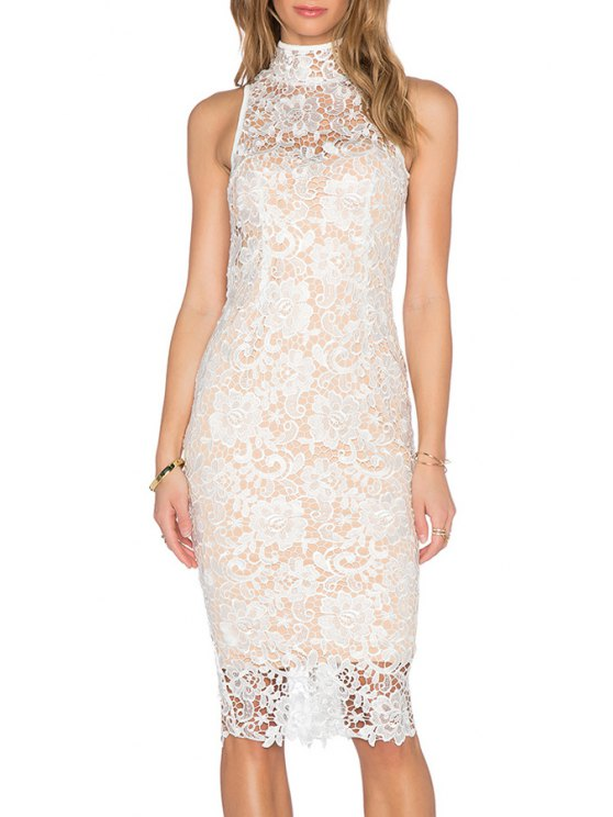 hot White Floral Pattern Lace Backless Dress - WHITE S