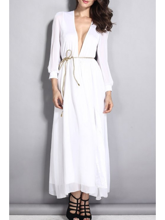 unique Deep V Neck White Tie-Up Dress - WHITE ONE SIZE(FIT SIZE XS TO M)