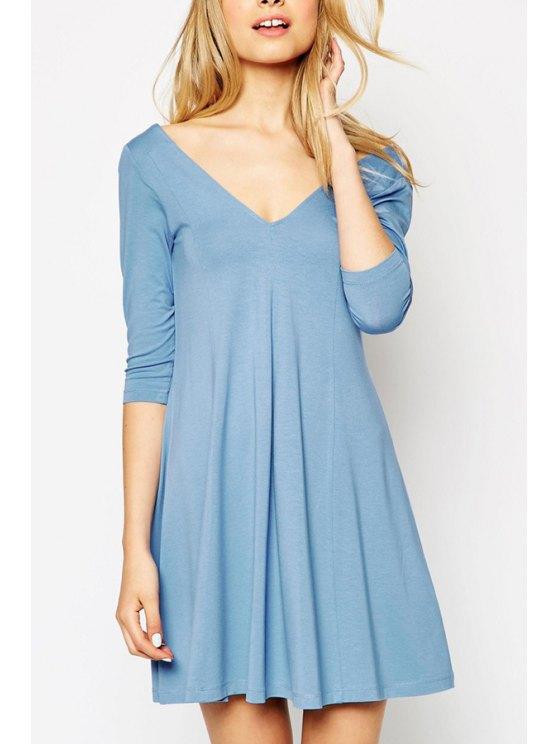 shops V Neck Backless Solid Color 3/4 Sleeve Dress - LIGHT BLUE S