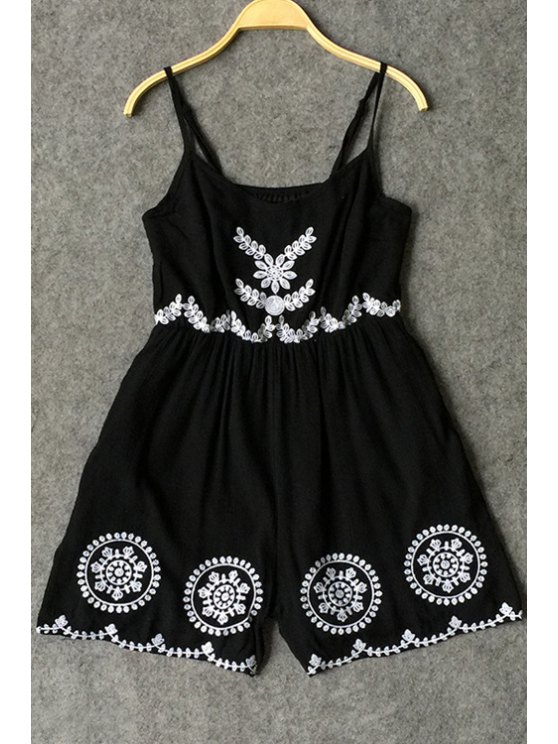 chic Spaghetti Strap Embroidered Playsuit - BLACK S