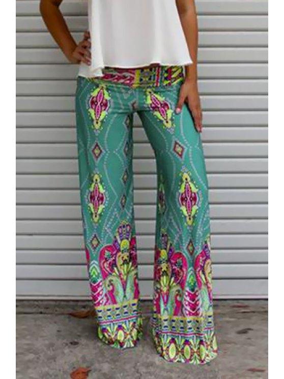 fashion Vintage Print Elastic Waist Exumas Pants - TURQUOISE S