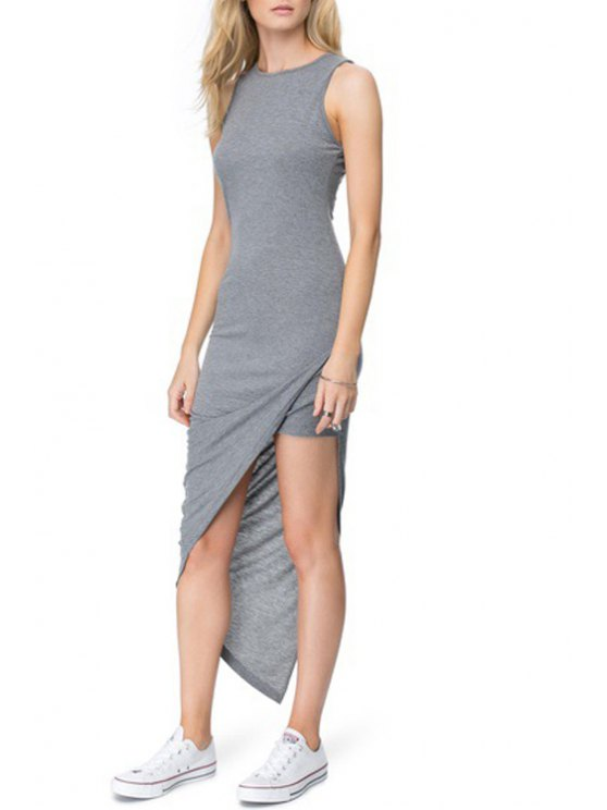 affordable FAsymmetrical Solid Color Sleeveless Dress - GRAY S