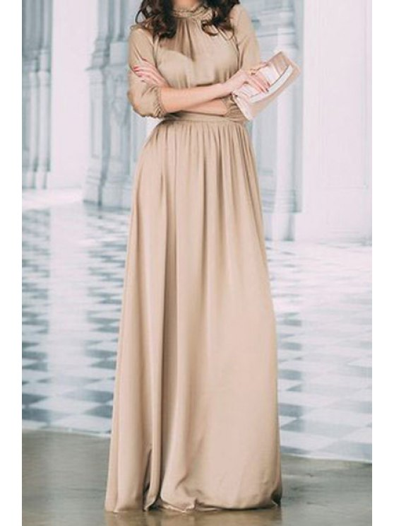latest Solid Color Stand Neck 3/4 Sleeve Maxi Dress - KHAKI S