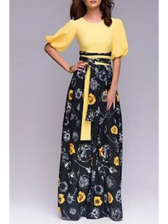 women Floral Jewel Neck Half Sleeve Maxi Dress - YELLOW AND BLACK S