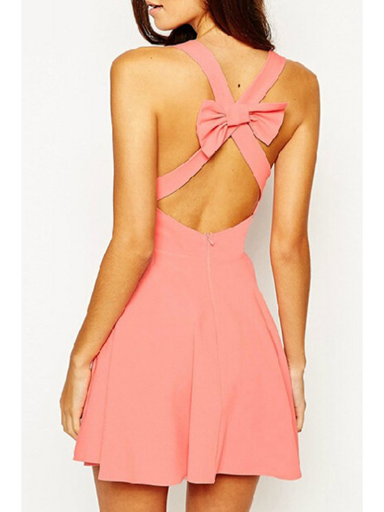 outfits V Neck Backless Cross Bowknot Sleeveless Dress - WATERMELON RED S