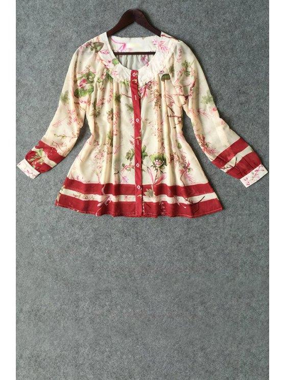 women's Long Sleeve Floral Chiffon Shirt - BEIGE S