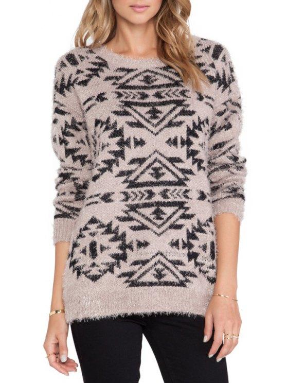 fancy Black Geometric Pattern Long Sleeve Sweater - LIGHT BROWN ONE SIZE(FIT SIZE XS TO M)