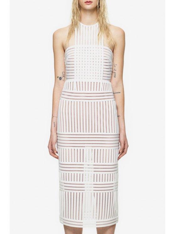 unique Round Neck See-Through Stripe Sleeveless Dress - WHITE S