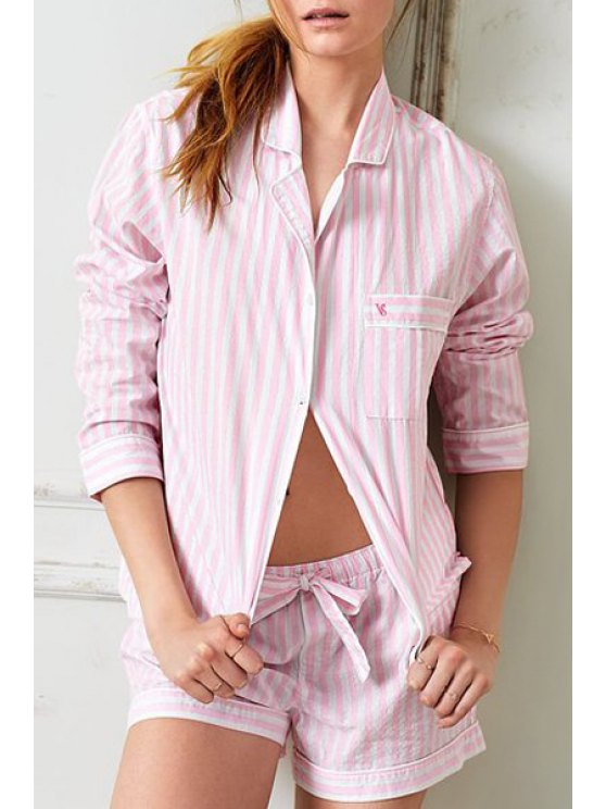 sale Striped Long Sleeve Top and Shorts Sleepwear Suit - PINK XS