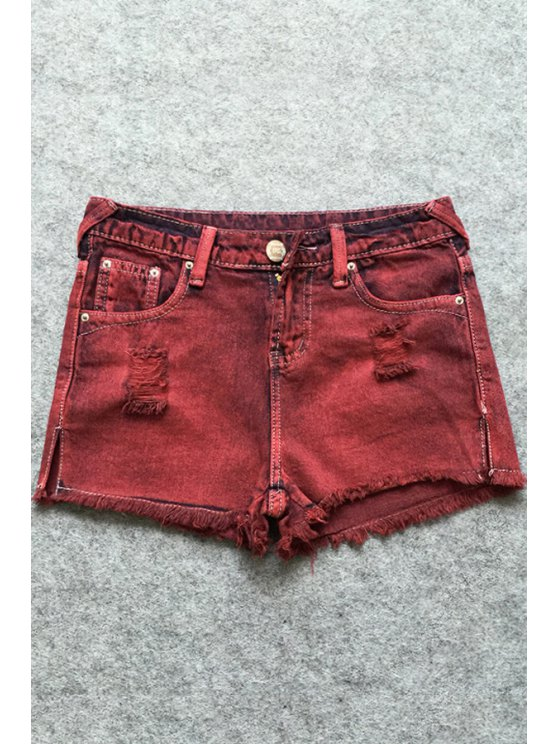 chic Broken Hole Pocket Red Denim Shorts - RED 25