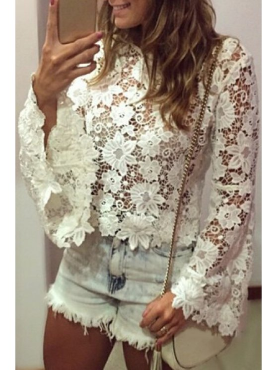 best Bell Sleeve See-Through Lace Blouse - WHITE S