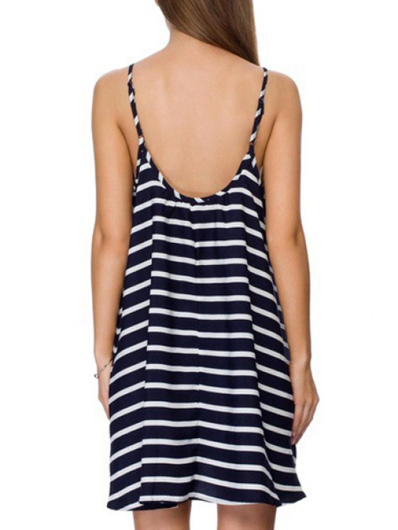 womens Spaghetti Strap Stripes Sleeveless Dress - AS THE PICTURE S