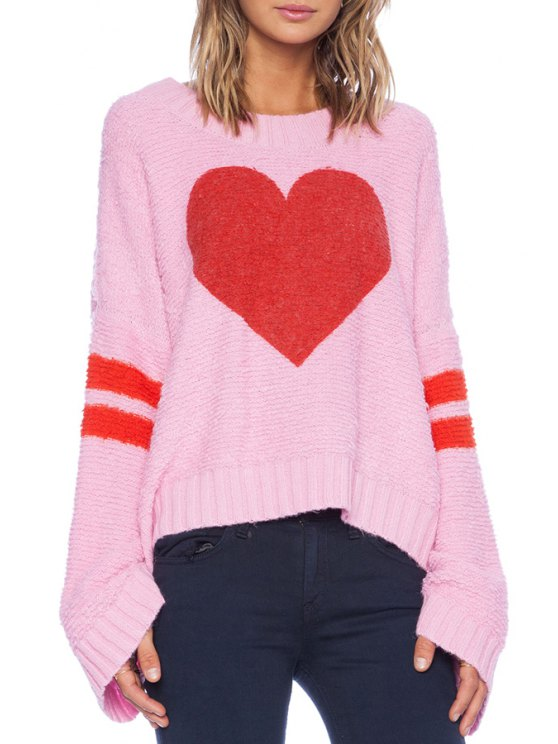 affordable Red Heart Pattern Long Sleeve Sweater - PINK ONE SIZE(FIT SIZE XS TO M)