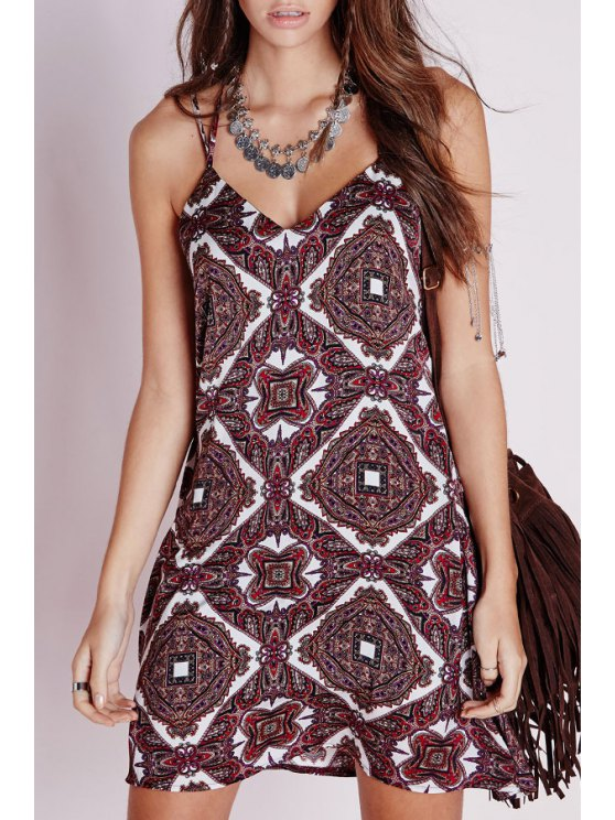 online Spaghetti Strap Printed Flare Dress - RED S