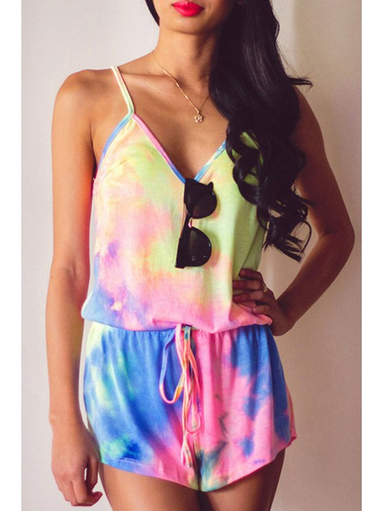 new Spaghetti Strap Colorful Playsuit - COLORMIX S