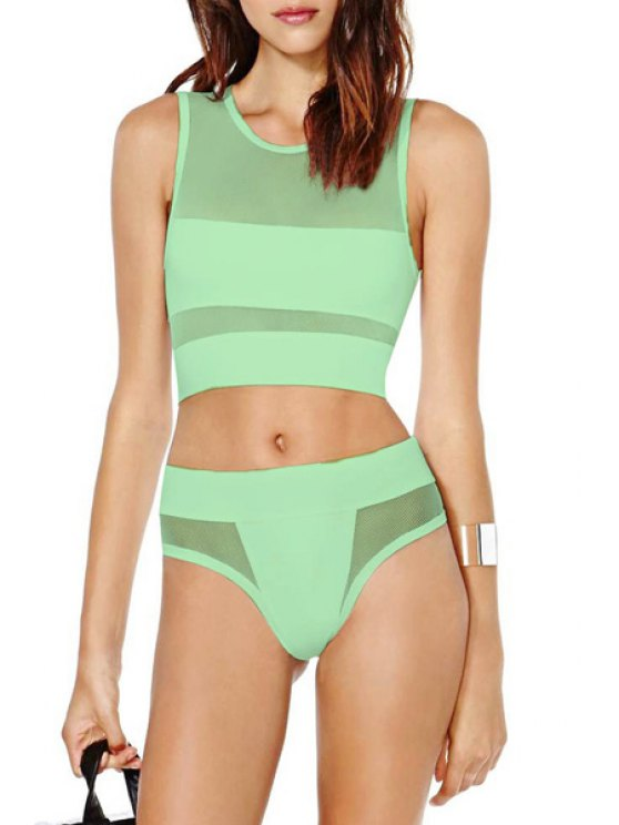 new Mesh Spliced Round Neck Bikini Set - GREEN S