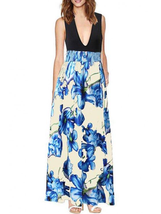 sale Sleeveless Floral Print Color Block Maxi Dress - BLUE S