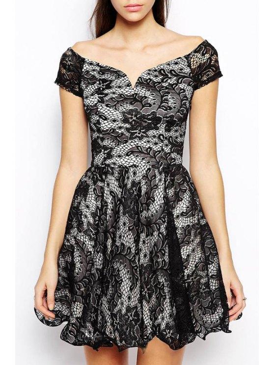 women Short Sleeve Crochet Flower Lace Dress - BLACK S