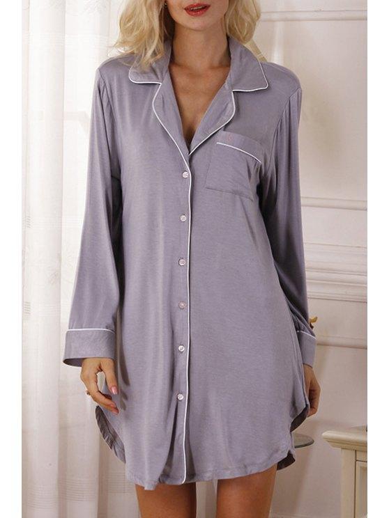 buy Pocket Single-Breasted Long Sleeve Babydoll - GRAY XS